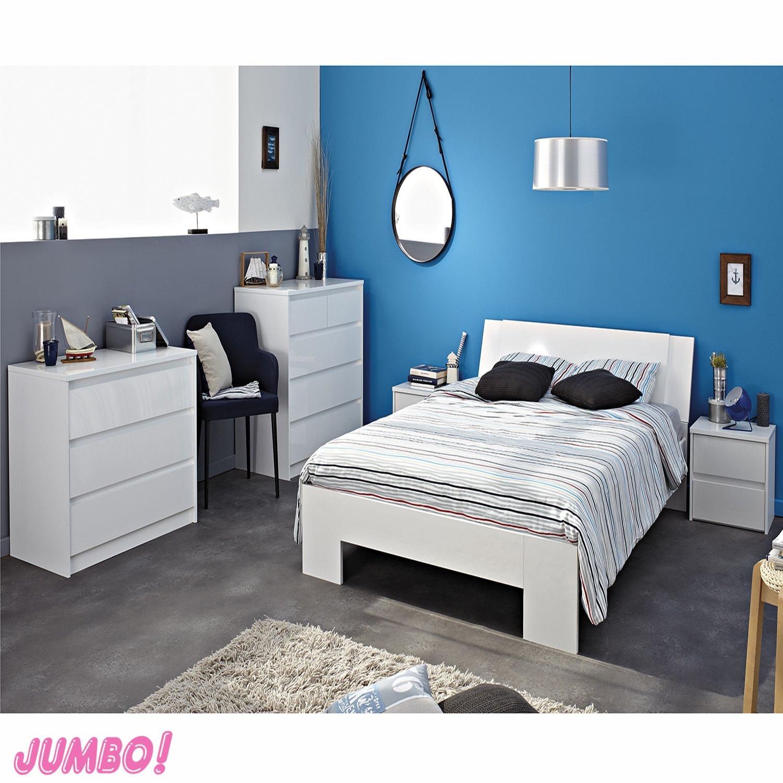 Jumbo-Möbel Schlafzimmer Ontario 1 weiß hochglanz