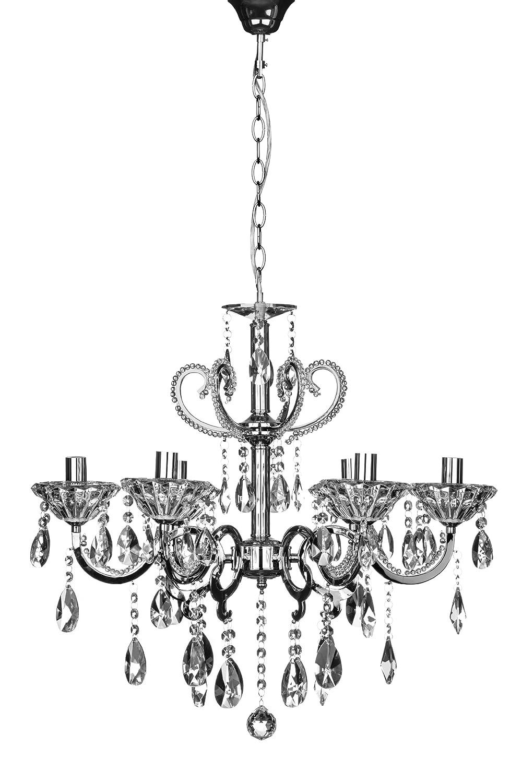 Premier Housewares Kronleuchter Kendall, 6-armig, E14, mit kleiner Edison-Schraube, 40W, Chrome / Kristalle