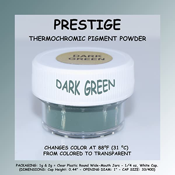 Prestige THERMOCHROMIC Pigment That Changes Color at 88°F (31 °C) from Colored to Transparent (Colored Below The Temperature, Transparent Above) Perfect for Color Changing Slime! (1g, Dark Green) (Color: DARK GREEN, Tamaño: 1g)