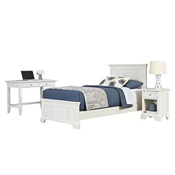 Home Styles 5530-4026 Naples Twin Bed, Night Stand and Student Desk, White