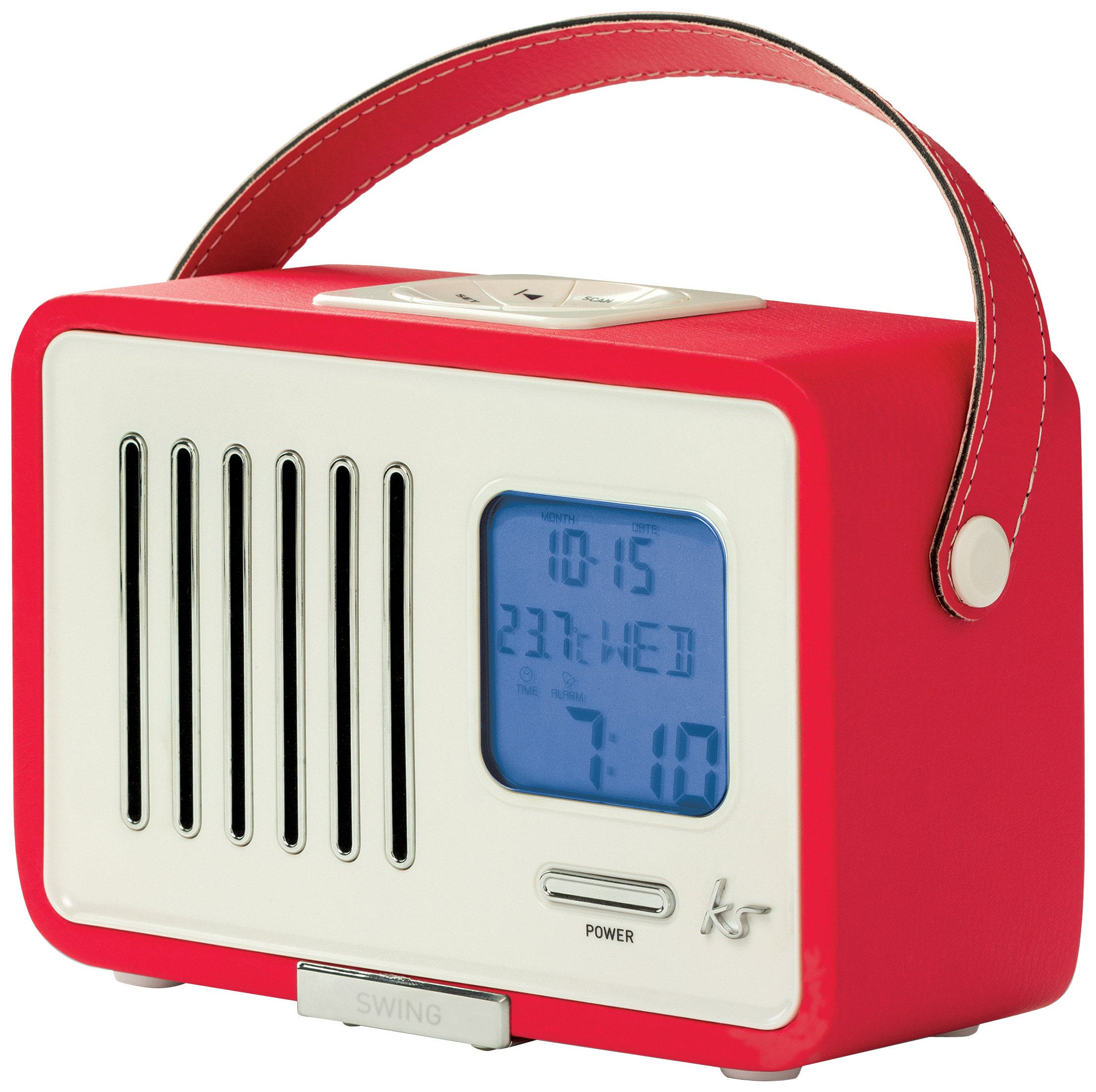 kitsound swing mini portable 1920s style retro fm radio with alarm clock red ebay. Black Bedroom Furniture Sets. Home Design Ideas