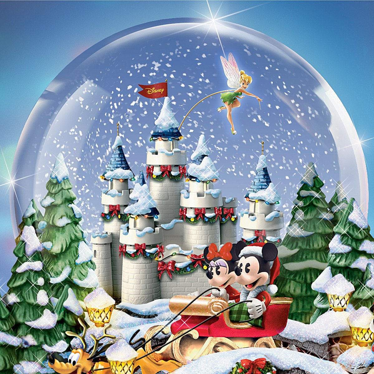 Disney figures Snow Globe Musical Snowglobe Showcasing 13 Classic Characters