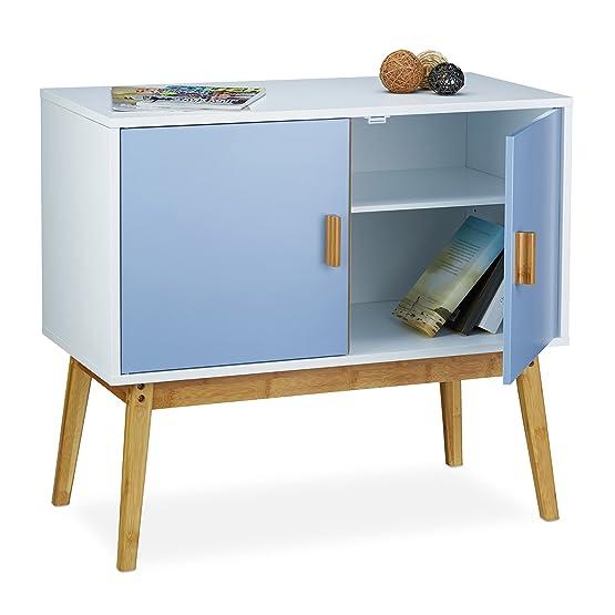 Relaxdays 10020339 Armadio/Armadietto, Como´ per Camera da Letto con Design Scandinavo Retro´, Design Scandinavo´, 40.5 X 80.5 X 72 cm, Azzurro e Bianco