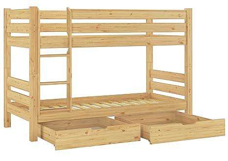 60.11-09 S2 letto a castello in legno di pino 90x200 cm