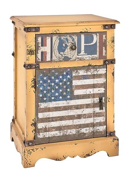 Kommode mit Schublade und Tur in Vintageoptik; Maße (B/T/H) in cm: 48 x 35 x 74