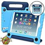 Apple iPad Mini 3 case for kids, iPad Mini 2 case for kids, iPad Mini 1 case for kids [ANTI MICROBIAL IPAD MINI KIDS CASE] PURE SENSE BUDDY Child Proof Cover for Boys   Shoulder Strap, Handle (Blue)