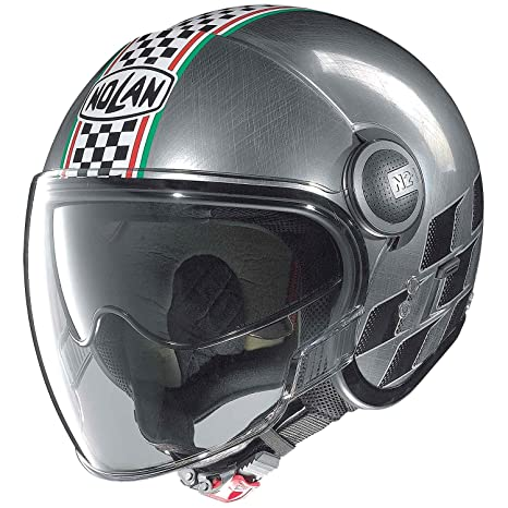Nolan n 21 aSSO vISOR casque demi-jet scratched couleur :  chrome/noir, dimensions :  2XL