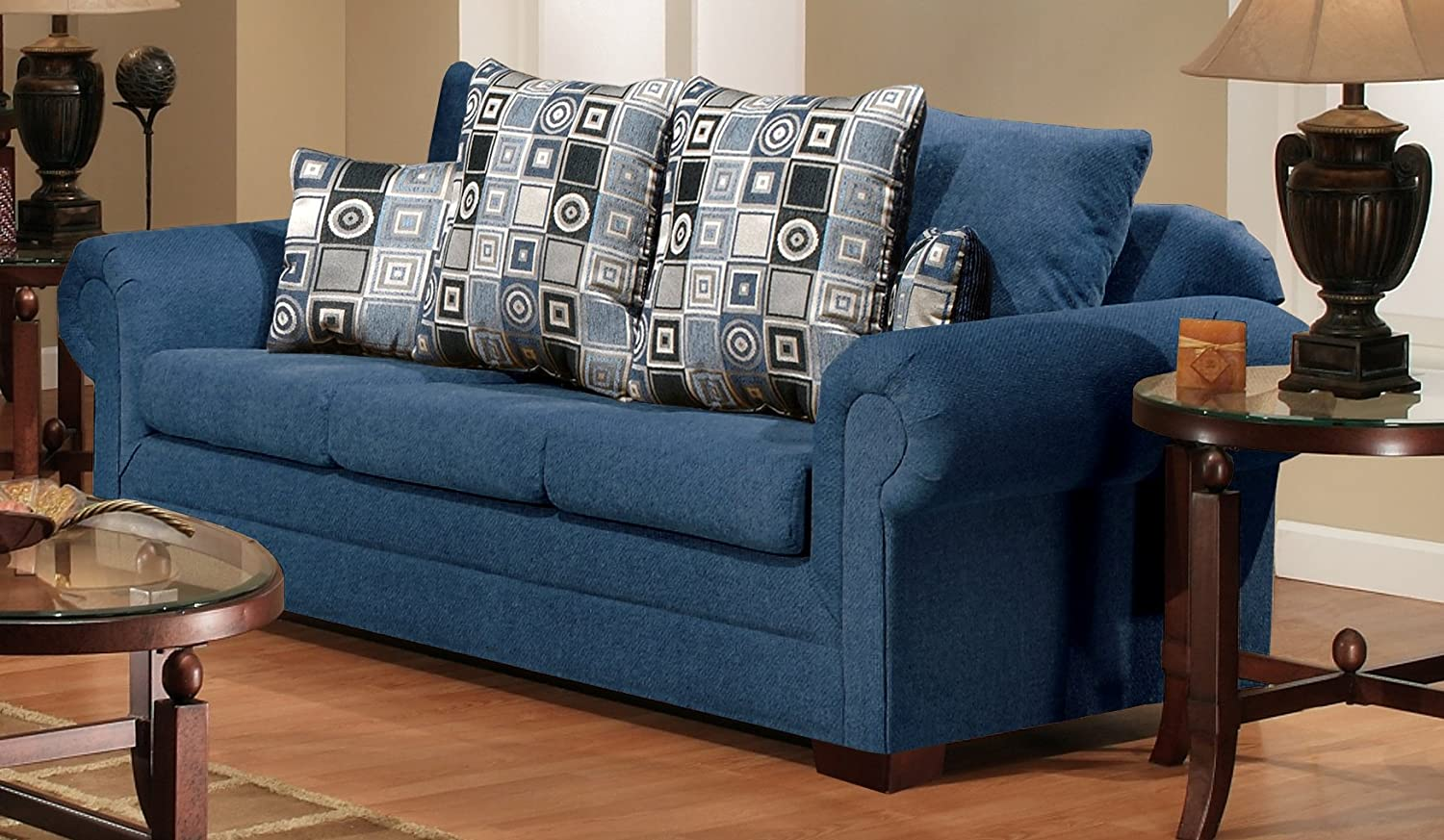 Chelsea Home Furniture Marsha Sofa - Upholstered in Tahoe Navy/Boomerang Navy