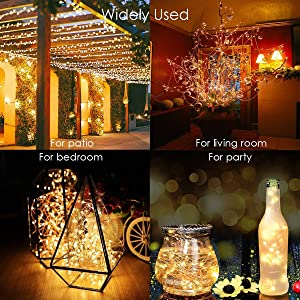 Ankway Solar String Lights 200 LED 72 FT, 3-Strand Wire, 2M/6.56ft Length of Leading Wire Solar Fairy Lights 8 Modes Waterproof IP65 Outdoor Indoor Patio Garden Decorative (Warm White) (Color: 200 Led, Tamaño: 200leds)
