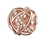 Galaxy Charm Authentic 925 Sterling Silver Openwork Charms with Clear CZ for European Bracelet (Rose Gold)