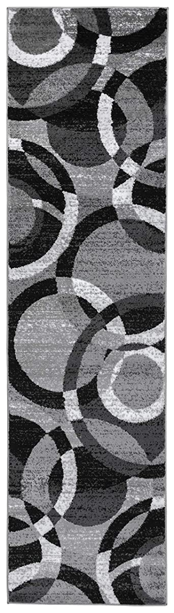 """Rugshop Contemporary Modern Circles Area Rug Abstract Runner, 2 x 72"""", Gray"""