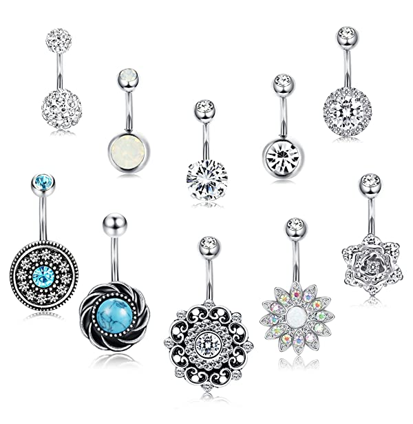 Funrun Jewelry 10pcs 14g Stainless Steel Belly Button Ring For Women