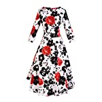 VOGTAGE 1950's Long Sleeve Retro Floral Vintage Dress with Defined Waist Design