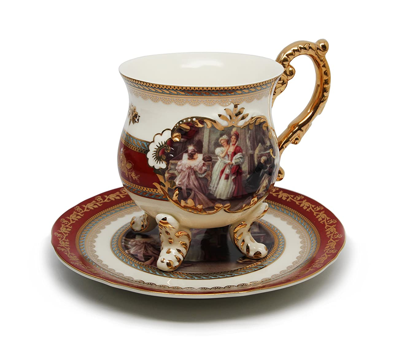 Royal Porcelain 15-Piece Antique RED Vintage Dining Tea Cup Set, Service for 6, Handmade & Hand-Painted, 24K Gold Bone China Tableware 2