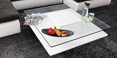 Couchtisch weiß Hochglanz quadratisch Porto 100x100cm Glastisch