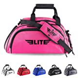 Elite Sports Warrior Boxing MMA BJJ Gear Gym Duffel Backpack Bag with Shoe Compartment (Color: Pink, Tamaño: Large)