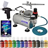 Super Deluxe 2 Airbrush Master Airbrush Cake Decorating Airbrushing System Kit with Set of 12 Chefmaster Food Colors, Gravity Feed Airbrushes, Air Compressor - Decorate Cakes Cupcakes Cookies Desserts