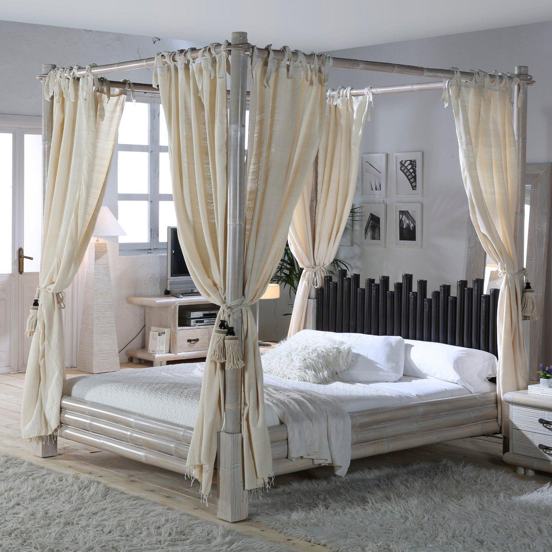 Himmelbett CABANA weiß/schwarz 140x200 Bambusbett exotische Möbel mit Lattenrost