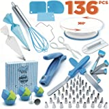 Cake Decorating Kit - Cake Decorating Supplies - Baking Supplies - Cake Turntable - Piping Bags -Russian Piping Tips Set - Piping Bags And Tips - Cupcake Decorating Kit - Cake Decorating Tools & More (Color: Blue)