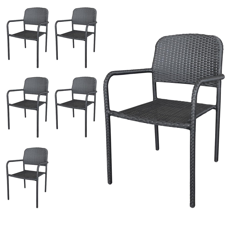 6 Stück Stapelstuhl Rattanstuhl Gartenstuhl stapelbarer Rattansessel Polyrattanbespannung in Schwarz – Gartenmöbel Gartensitzmöbel jetzt kaufen