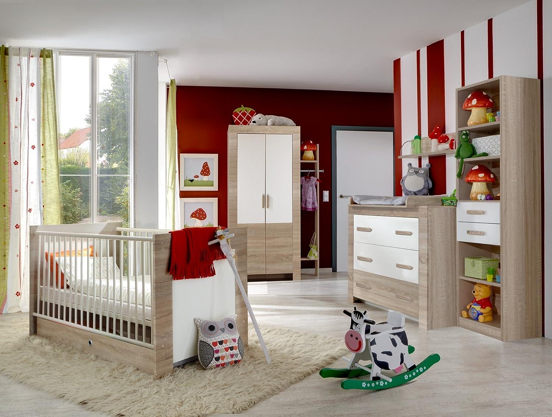 Babyzimmer mit Bett 70 x 140 cm Eiche sägerau/ alpinweiss kaufen