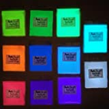 Glow Powder 11 Pack Neutral and Fluorescent Colors Glow Pigment Powder 5.83oz.(165g) Total; for Resin, Slime, Nail Polish, Paints, Coatings, Acrylic Powder; Premium Encapsulated Strontium Aluminate (Color: All Colors Glow Pack)
