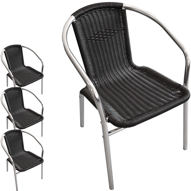 4 Stück Aluminium Stapelstuhl Poly-Rattanbespannung Gartenstuhl Bistrostuhl Gartenmöbel Balkonmöbel Terrassenmöbel Silber / Schwarz