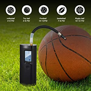 Portable Air Compressor -Vastar Mini Electric Air Inflator 2000mAh Rechargeable Lithium Battery with Digital LCD LED Light for Ball and Car Bicycle Tires