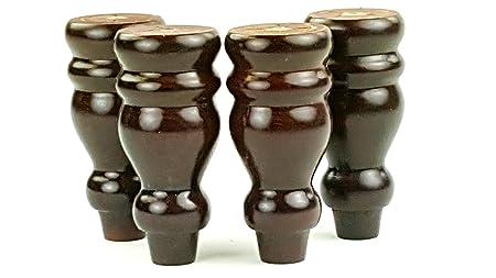 4 x pies de madera de muebles 153 mm de altura para sofás, sillas, armarios PRE deyard