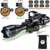 Hunting AR15 Tactical Rifle Scope Combo C4-16x50EG with Green Laser and 4 Holographic Red&Green Dot Sight (12 Month Warranty) for 22&11mm Weaver/Picatinny Rail Mount (Color: Green Laser)