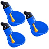 (3) RITE FARM PRODUCTS AUTOMATIC WATERER DRINKER CUPS CHICKEN POULTRY TURKEY DRINK (Color: Blue)