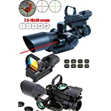 Ledsniper®3-in-1 useful 2.5-10x40 Tactical Rifle Scope w/ Red Laser & Holographic Green / Red Dot Sight (Color: black)