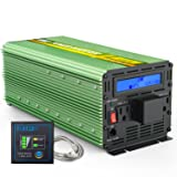 EDECOA 3000W Power Inverter Modified Sine Wave DC 12V to 110V AC with LCD Display and Remote Controller (Color: Green)