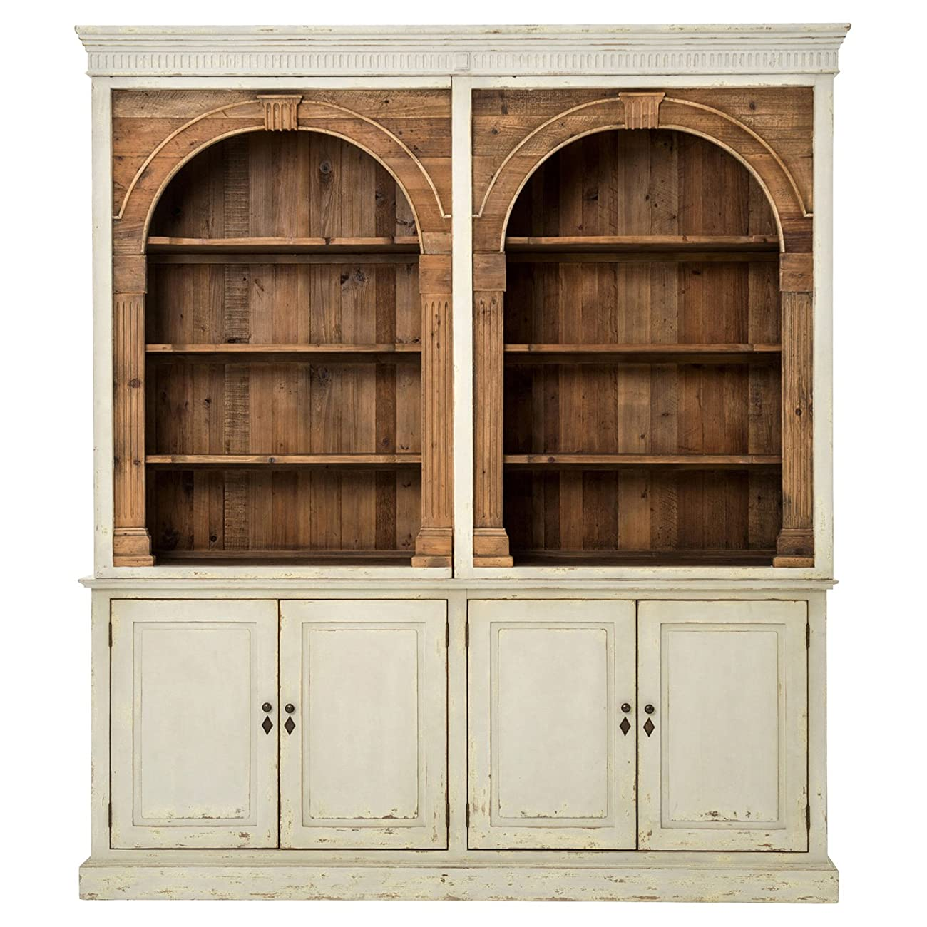 Laurine French Country Rustic Ivory Arch Wood Cabinet 2