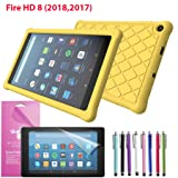 EpicGadget Case for Amazon Fire HD 8 2018/2017 Silicone (8th and 7th Generation, 2018 and 2017 Release) Slim Anti-Slip Soft Rubber Silicone Gel Case Cover For Fire HD 8, 8