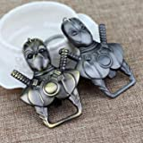 Set of 2 Ancient Bronze and Tin Made Deadpool Design Opener Multi-function Keychain