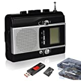 Portable Radio Cassette Player Recorder , Cassette Tape & Radio to Mp3 Converter Recorder with Voice Recording Feature To USB And TF Card