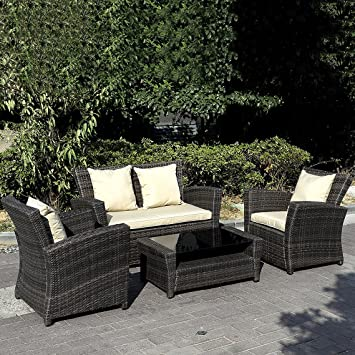 4 PCS Cushioned Outdoor Wicker Patio Set Garden Lawn Sofa Furniture Seat Brown