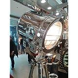 VINTAGE INDUSTRIAL DESIGNER CHROME NAUTICAL SPOT LIGHT TRIPOD FLOOR LAMP DECOR (Color: Silver)