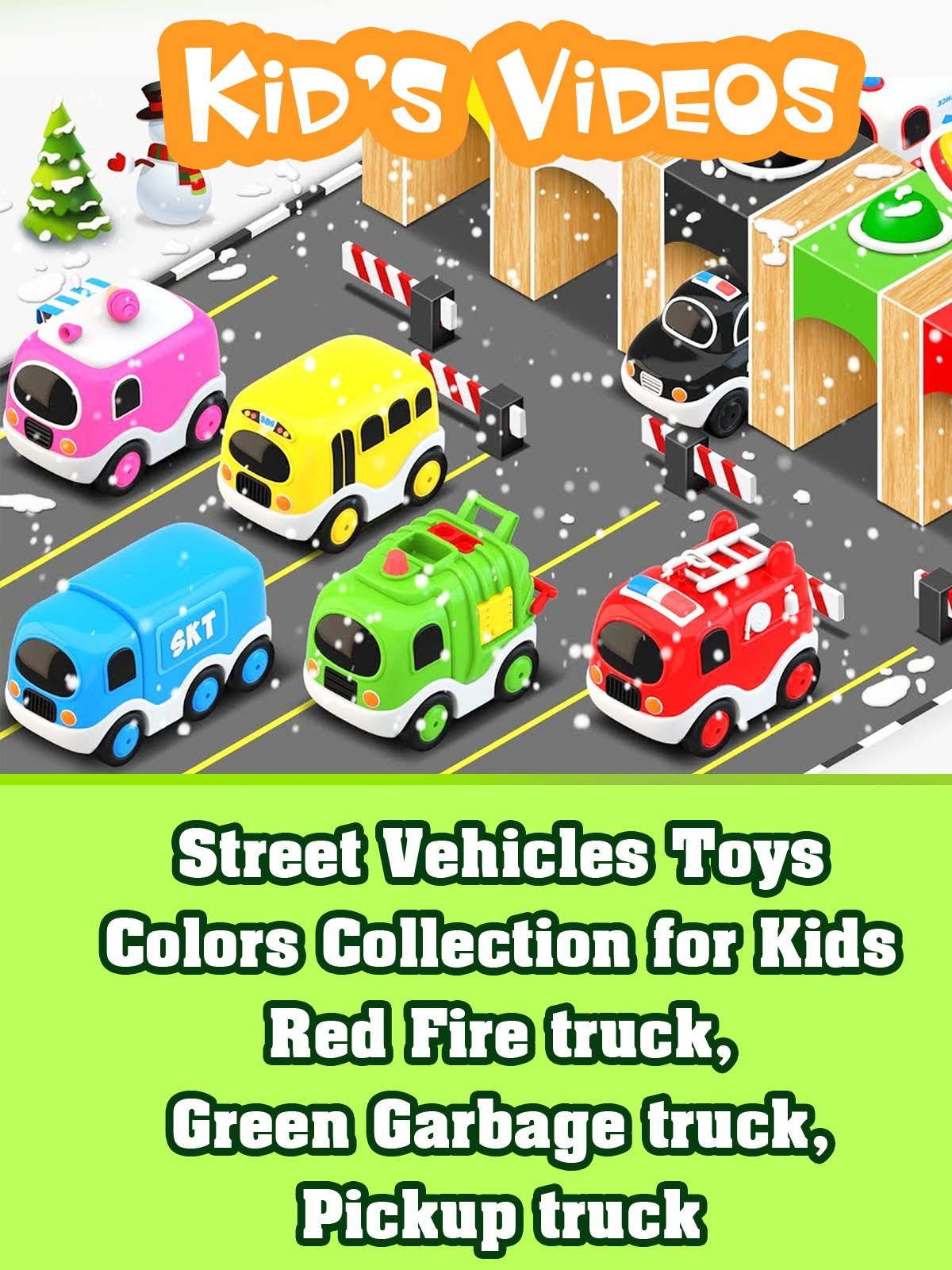 Street Vehicles Toys Colors Collection for Kids Red Fire truck, Green Garbage truck, Pickup truck