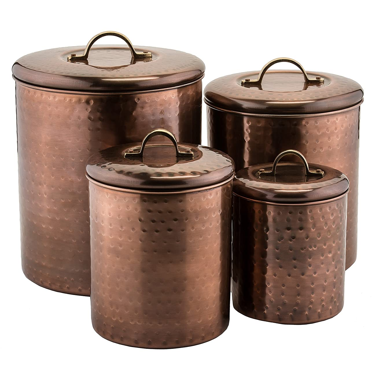Old Dutch 4 Piece Hammered Canister Set, Antique Copper 0