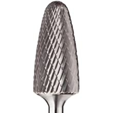 PFERD Tree Carbide Bur, Uncoated (Bright) Finish, Double Cut, Radius End