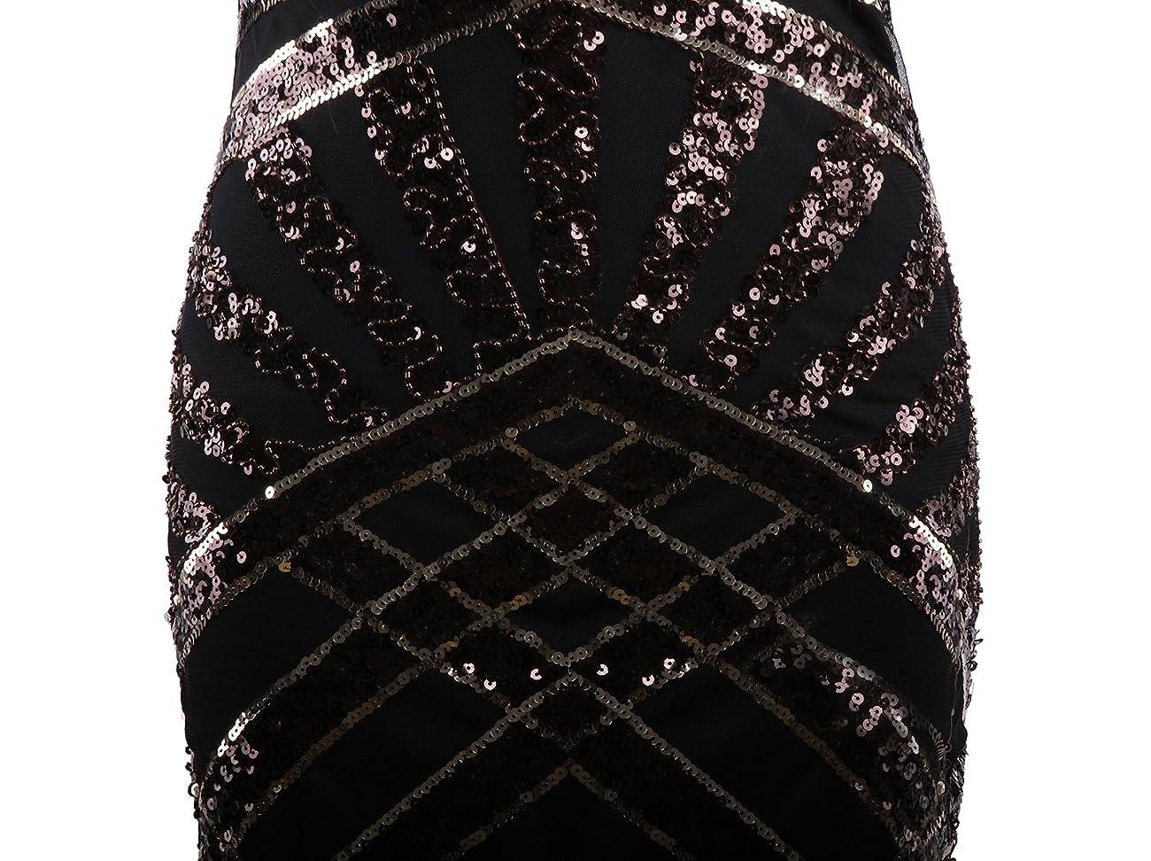 Vijiv Vintage 1920s Embellished Art Nouveau Fringe Sequin Beaded Flapper Dress 4