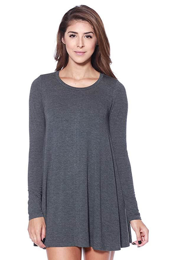 A+D Womens Long Sleeve Knit Flowy Tunic Dress (Charcoal, X-Large)