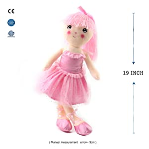 Wewill Pink Ballerina Stuffed Girl Plush Doll Adorable and Cuddly Gift for Girls on Easter Birthday, 18 inch (Color: Pink, Tamaño: 18inch)