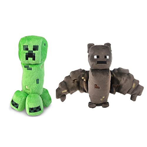 Minecraft Creeper and Bat Plush Set 8 Inches