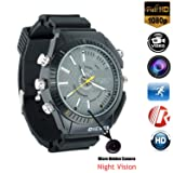 Micro Camera Wrist Watch HD 1080P Smart Watch with 16 GB Cameras Black Multifunctional Night Vision Glasses Waterproof Watch for Nanny Outdoor (Color: black)