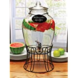 Circleware 69121 Glass Beverage Dispenser with Stand and Chalkboard Necklace, Fun Party Entertainment Home Kitchen Glassware Drink Water Pitcher for Juice, Beer & Cold Drinks, 2.7 gal, Empire Black (Color: Empire Black, Tamaño: 2.7 gal)