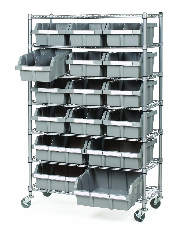 Commercial Storage Bin Cart Wheels Parts Rack Tool Shelf