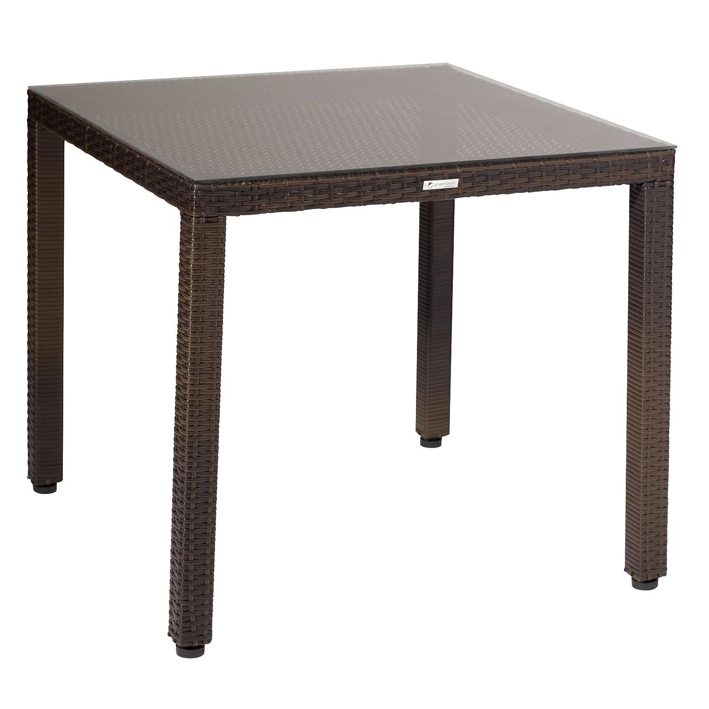 Greemotion Rattan Tisch klein Milano, Mehrfarbig, ca. 80 x 80 Höhe: ca. 74 cm günstig online kaufen